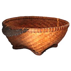 Large Splint Wood Woven Basket with Carved Eagle Handles