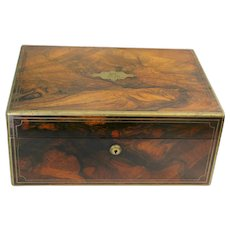 19th Century Jewellery Box Rosewood by Bramah Once Belonging to The Countess of Munster England