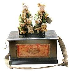 Antique German Bisque Dolls Crank Music Box Ca Late 19th C