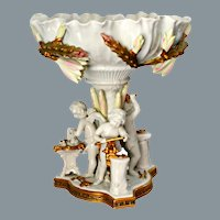 Antique White and Gold Porcelain Centerpiece Moore Brothers Ca 1880's