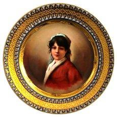 Antique Royal Vienna Porcelain Portrait Cabinet Plate Signed