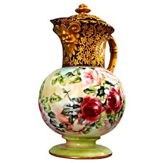 Gold Encrusted Jeweled Burgundy Porcelain Coffee Pot Hand Painted Pink Roses Ca Late 1800's