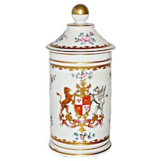 French Porcelain Apothecary Jar Coat of Arms Hand Painted Edme Samson of Paris