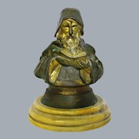 Antique Bronze Inkwell Old Wizard