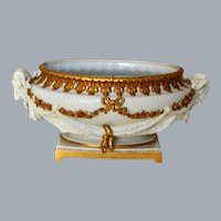 Antique Porcelain White and Gold Cachepot Planter Rams Head Volkstedter Germany Ca 1915