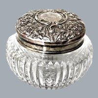 American Brilliant Cut Glass Sterling Silver Dresser Jar Theodore A. Kohn & Son