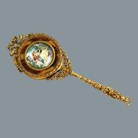 Antique French Dore Bronze Vanity Mirror with Hidden Box Ca 19th C RARE