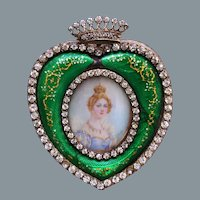Antique French Painting Napoleon Stepdaughter Hortense  Jeweled Enamel Frame Jenny Savy Ca Early 19th