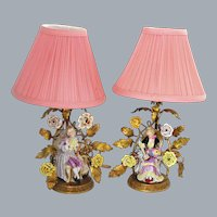 Antique French Porcelain Gold Figural Lamps Ca Late 19th C
