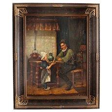 Antique Oil Painting on Board by W Johnson Dutch School Genre Art