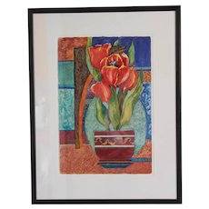 Original Still Life Watercolor Painting Red Tulips Susie Schreiber Ohio Watercolor Society