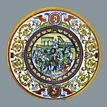 Antique Majolica Charger Gubbio Lustre Istoriato Wares Tin Glazed Earthenware 14.75'' D