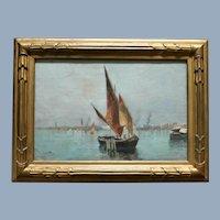 Seascape with Sailboats Oil Painting Listed Artist Oscar Ricciardi (Italian, 1864-1935)