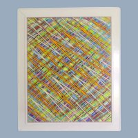 Abstract Geometric Painting Acrylic Masonite Psychedelic Colors by Donald Sorenson (1948 - 1985)
