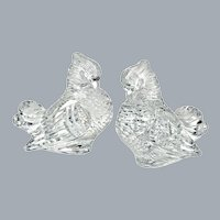 1930's Steuben Cut Crystal Pigeons Figures Pair Life Size