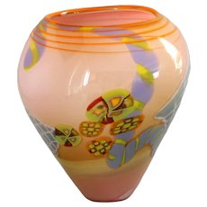 Peach Opaline Art Glass Studio Vase Wes Hunting Studio Glass
