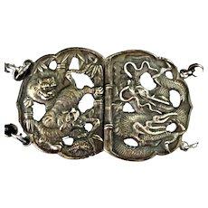 Antique Japanese Silver Dragon Tiger Belt Mark 84 Meiji Period Late 19th C