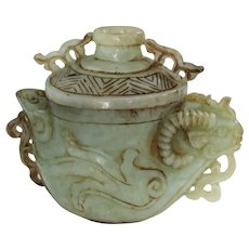 Antique Chinese Carved Jade Censer Ram Head Hand Carved Polished RARE