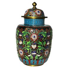 Chinese Cloisonne Champleve Vase with Lid Ca 1920's