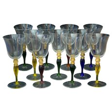 12 Vintage Venetian Glass Wine Goblets Hand Blown Gold Flecks Colored Baluster Stem
