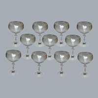11 French Crystal Large Wine or Cocktail Glasses Frosted Nude Lady Stem