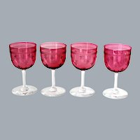 Antique French Pink Crystal Wine Glasses Etched with Fleur De Lis