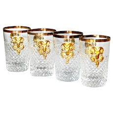 Vintage French Diamond Point Shot Glasses with Gold Tone Metal Ram Heads 4