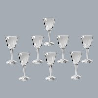 8 Lalique Crystal Wine Glasses Treves Clear 5 3/4'' H