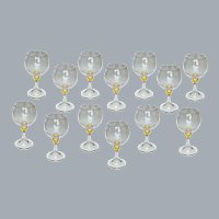 13 Murano Crystal Balloon Wine Glasses by Seguso Viro Unused Near Mint