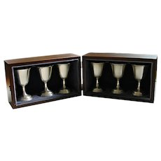 6 Tuttle Sterling Silver Wine Goblets 1969-74