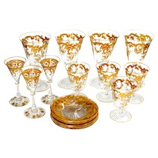 23  French St Louis Crystal Gold Encrusted Wine Glasses  Ca 1910 Unused