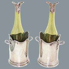 Antique Hand Blown Wine Bottles Sterling Silver Sprouts Ca Mid 19th Century England