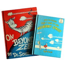 Dr Seuss Books Mulberry Street and On Beyond Zebra Hard Covers Out of Print