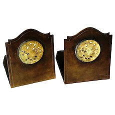 Art and Crafts Metalwork Bookends with Carved Celadon Jade Medallions by  Potter Studio