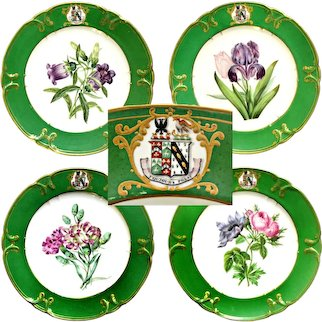 Antique Porcelain Armorial Ware or Heraldic China Cabinet Plates Old Paris FEUILLET