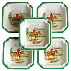 5 Spode Herring Hunt Homeward Ashtrays England 2/9265 K Unused