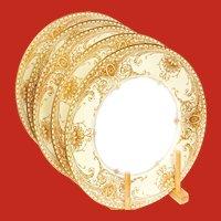 Royal Worcester Gold Encrusted Medallions Dinner Plates Ca 1925 Unused