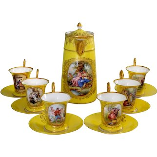 Ambrosius Lamm Dresden Porcelain Chocolate Set for Six