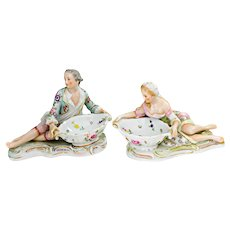 A Pair of Porcelain Sweetmeat Dishes or Salt Cellars, or Condiment Dishes Germany Sitzendorf 1900-1902