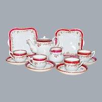 Antique Childs Tea Set by Copeland England Ca 1850 - 1867 Ironstone Red Transferware
