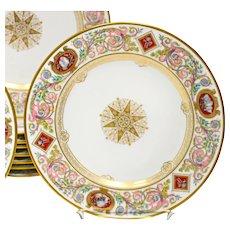 Antique Sevres Plates Louis Philippe Chateau de Fontainebleau CA 1840