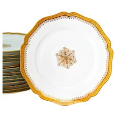 Limoges Gold Encrusted Dinner Plates W M Guerin Set of 14