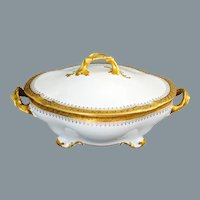 Limoges Gold and White Vegetable Bowl W.M. Guerin