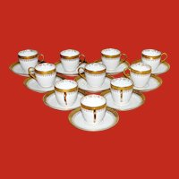 Porcelain White and Gold Demitasse Cup and Saucers Set of 10 Limoges France