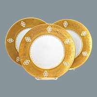 French Gold Encrusted Jeweled Dinner Cabinet Plates Limoges