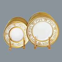 Neoclassical Gold Encrusted Dinnerware Set Cauldon England Set of 24 Unused