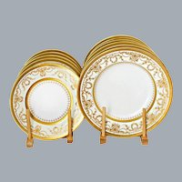 Neoclassical Gold Encrusted Dinnerware Set Cauldon England Set of 24 Unused