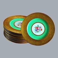 12 Gold Encrusted Green Dinner Plates Cauldon England 10.5'' D Unused Ca 1920