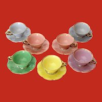 7 Multicolor Demitasse Cups and Saucers Germany Tirschenreuth Bavaria Unused Ca 1960's