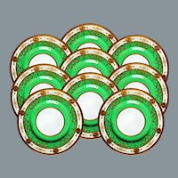 9 Gold Encrusted  Green Dinner Plates by Minton England UNUSED Near Mint